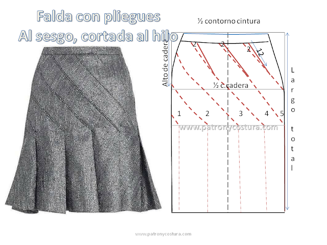 529d4bdff Falda con pliegues al sesgo (PATRÓN Y COSTURA) | costuras | Faldas ...
