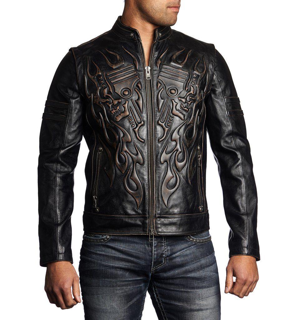 DETAILS • Affliction Leather Jacket • Double Layer 3D
