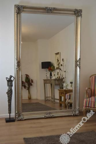 Massive Antique Style Silver Rectangle Wall Mirror Leaner 8ft X