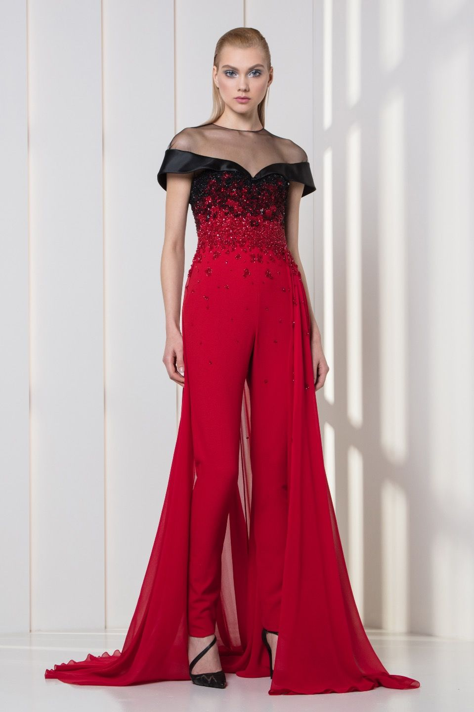 4f23c1a7a0f Cherry red crepe jumpsuit with an overskirt