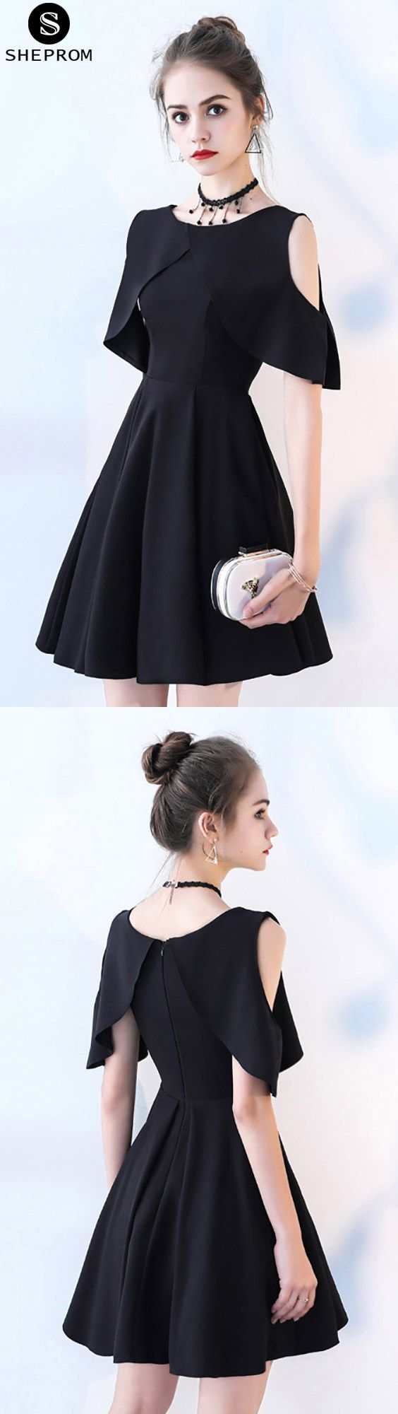 Black cold shoulder short homecoming dress with sleeves
