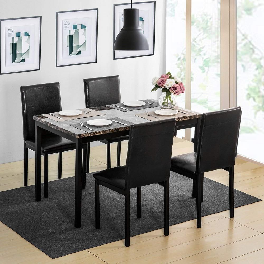 Harper Bright Designs 5 Piece Faux Mable And Pu Leather Dining