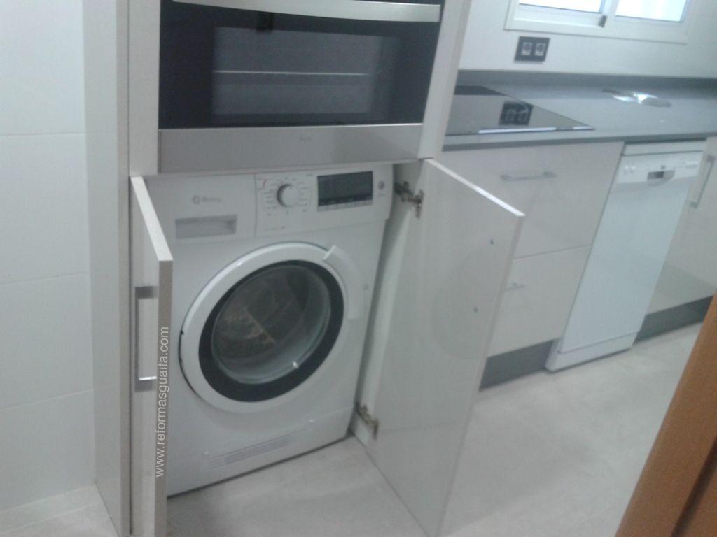 Reforma de una cocina con pasaplatos en valencia - Secadora y lavadora juntas ...