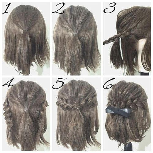 If Your Hair Is Just Above Shoulder Length You Can Recreate This Braided Look With A Hair Elastic And A Bow Short Hair Styles Simple Prom Hair Hair Styles