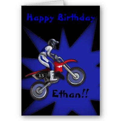 Painted Dirt Bike Birthday Card Tys Birthday Pinterest Dirt