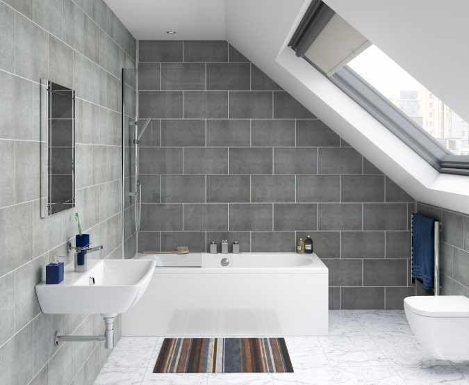 ProPlas Tile 250 - Stone Graphite - Matt - UPVC Tile Effect Panels - 4 Pack | Panel Style | Bathroom Cladding, Pvc Wall Panels, Bathroom Wall Panels