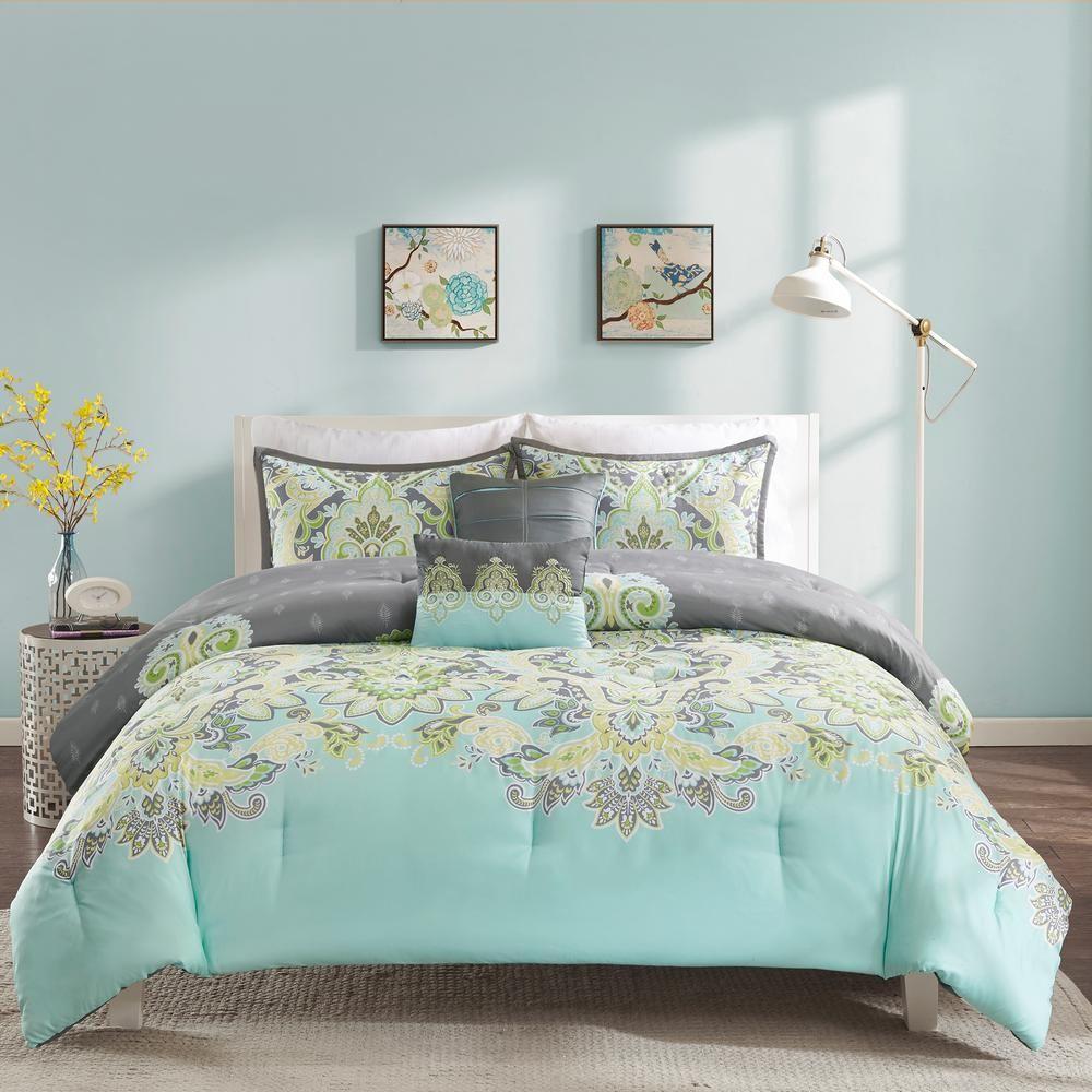 Intelligent Design Jade 5 Piece Aqua King Comforter Set Blue In