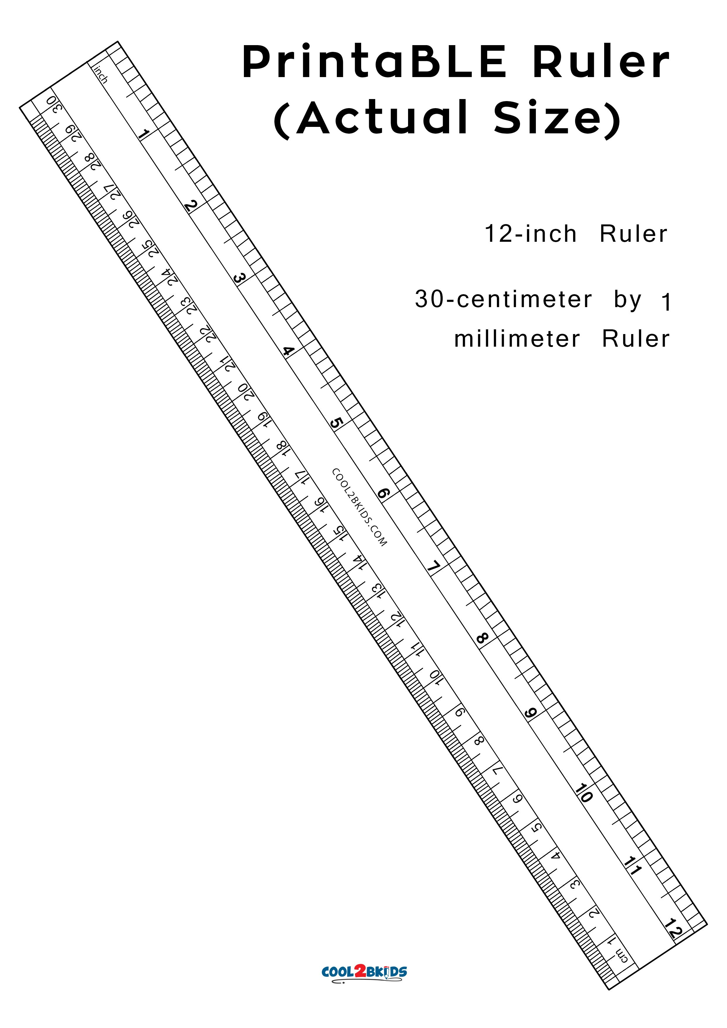 Printable 12 Inch Ruler For Actual Size Measurements In