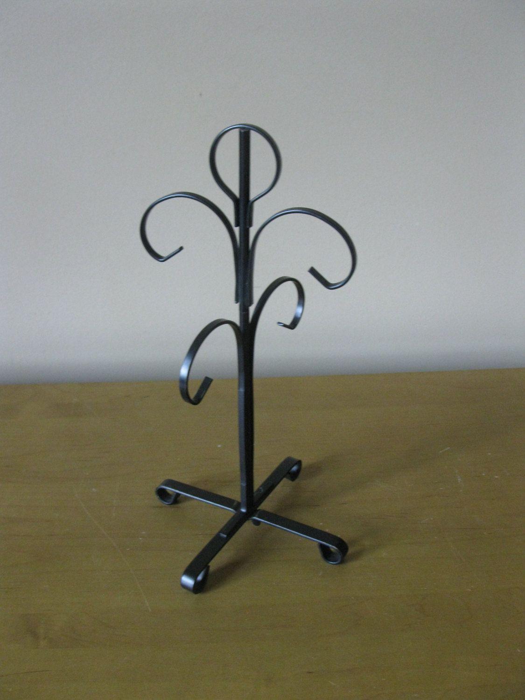 Metal Cup Holder- Cup Tree- vintage Cup Holder- Mug Tree- BLACK ...