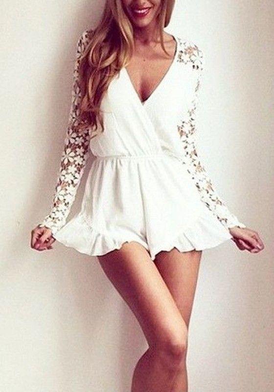 f0ec9a8b9700e9 Weiß Splicing Spitze Rüschen Tiefer Ausschnitt Langarm Jumpsuit Kurz für  Damen Sexy Mode