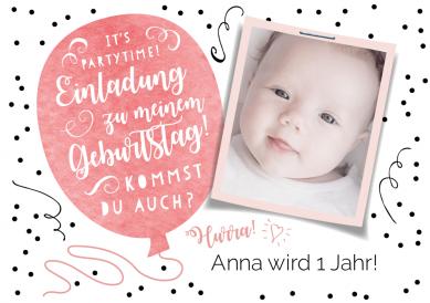 Hippe Einladungskarte In Schwarz Weiß Zum 1. Geburtstag Mit Foto Vom  Geburtstagskind Und Rosa