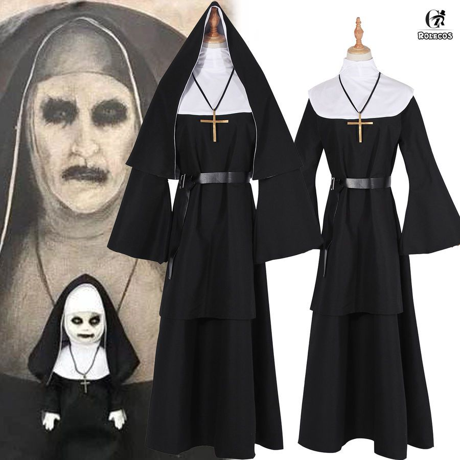 For The Conjuring Scary Suit The Nun Valak Cosplay Costume Women Nun Robes Dress