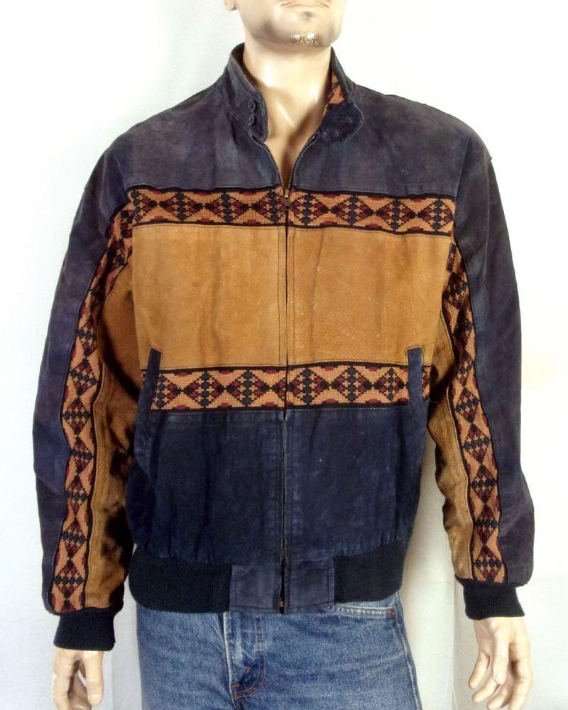 Vtg adler menus zip front southwest leather jacket aztec black brown