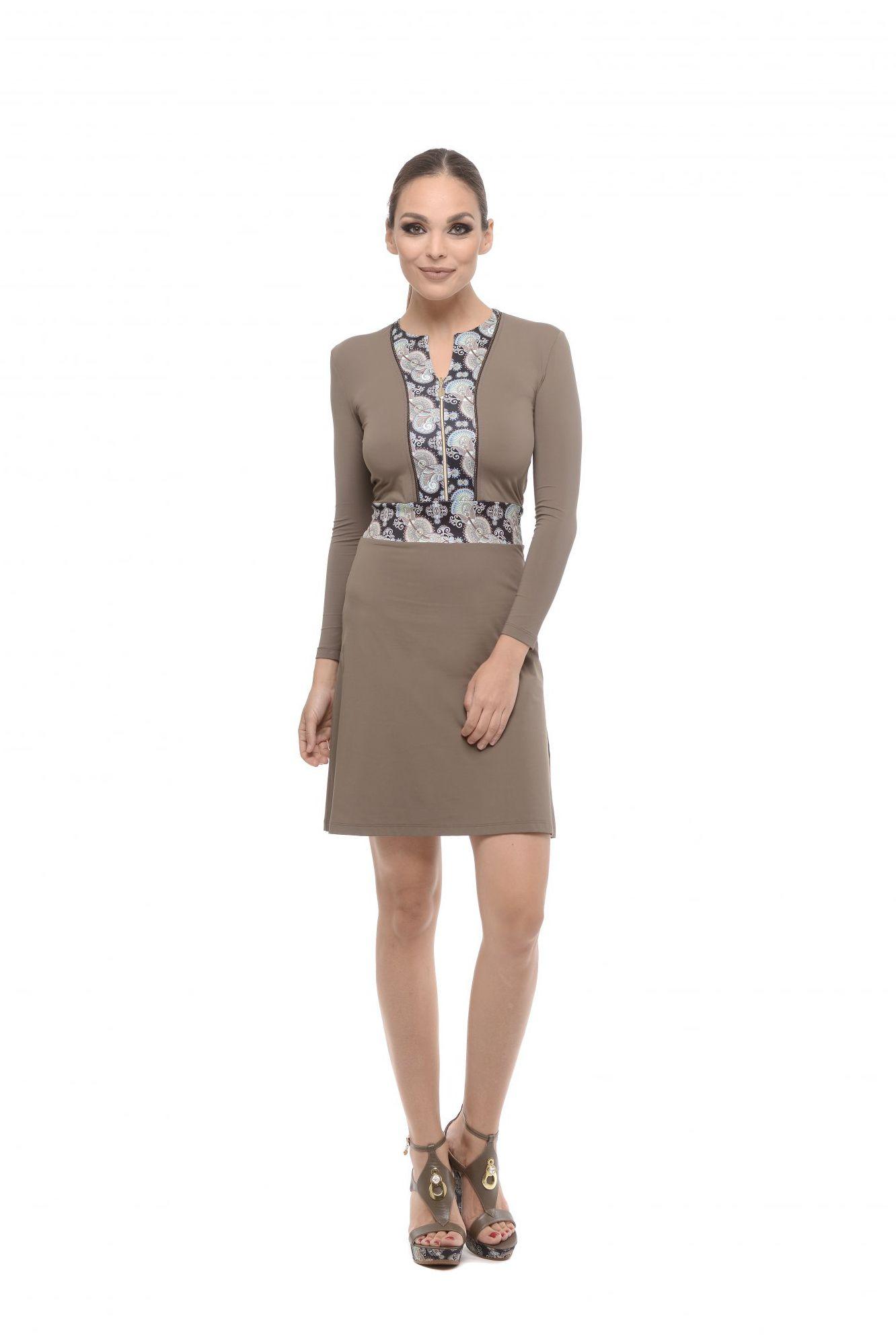 5fe220c8e9ab Krátke šaty na zips hnedá khaki