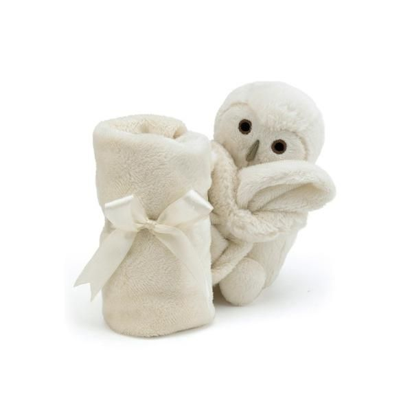 Bashful Owl Soother is a plush owl friend sewn onto a comforting blanket, two soft toys in one! Little ones will love to cuddle the smooth, soft blanket and hug the adorable owl. With embroidered features, this plush owl and the soothing blanket are designed to be suitable for newborns, by Jellycat!