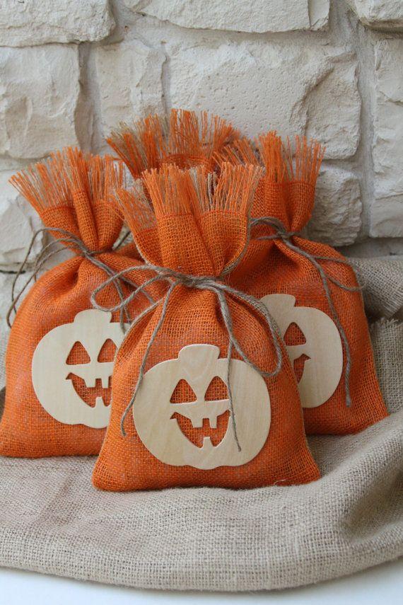 Burlap Gift Bags, Set of Four, Nautral Wood Pumpkin, Halloween - decorate halloween bags