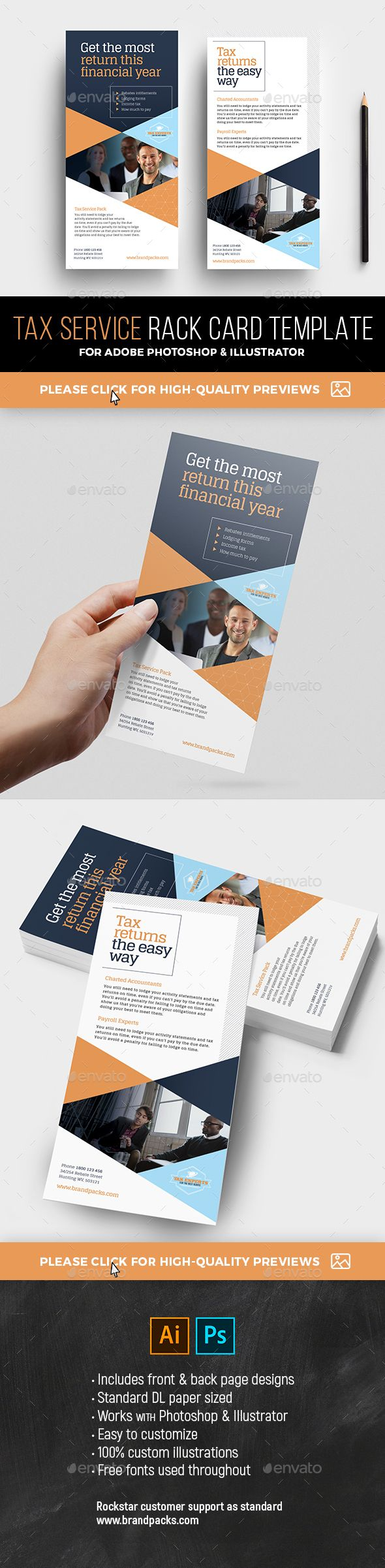 DL Tax Service Rack Card Template A DL rack card template in