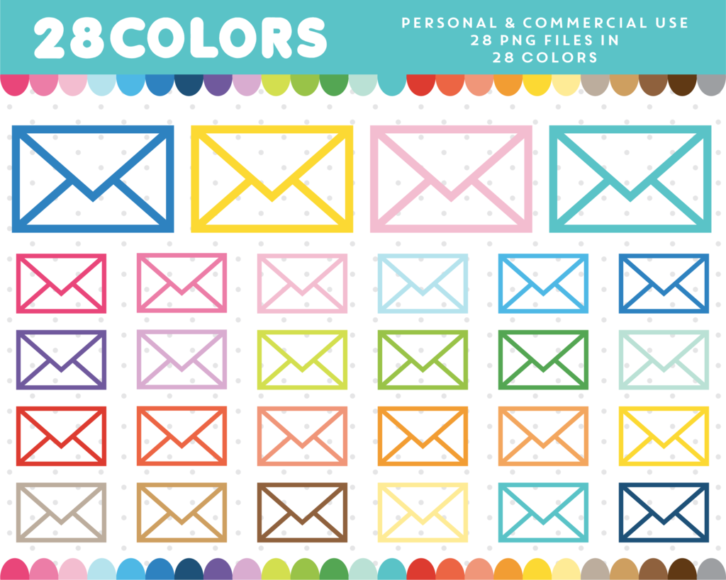 Letter Envelope Clipart In 28 Colors Cl 333 Planner Journal And