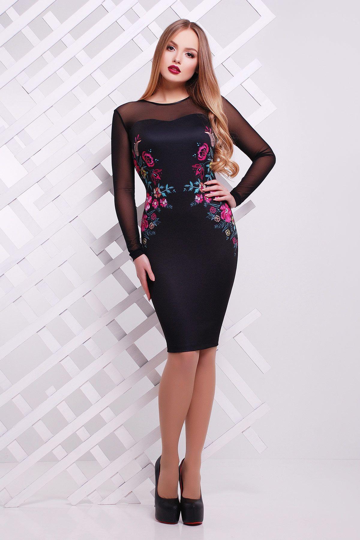 f36f189b92d Черное платье с рукавами из сетки не весну-лето. Вышивка платье Донна2 д р.  Цвет  черный