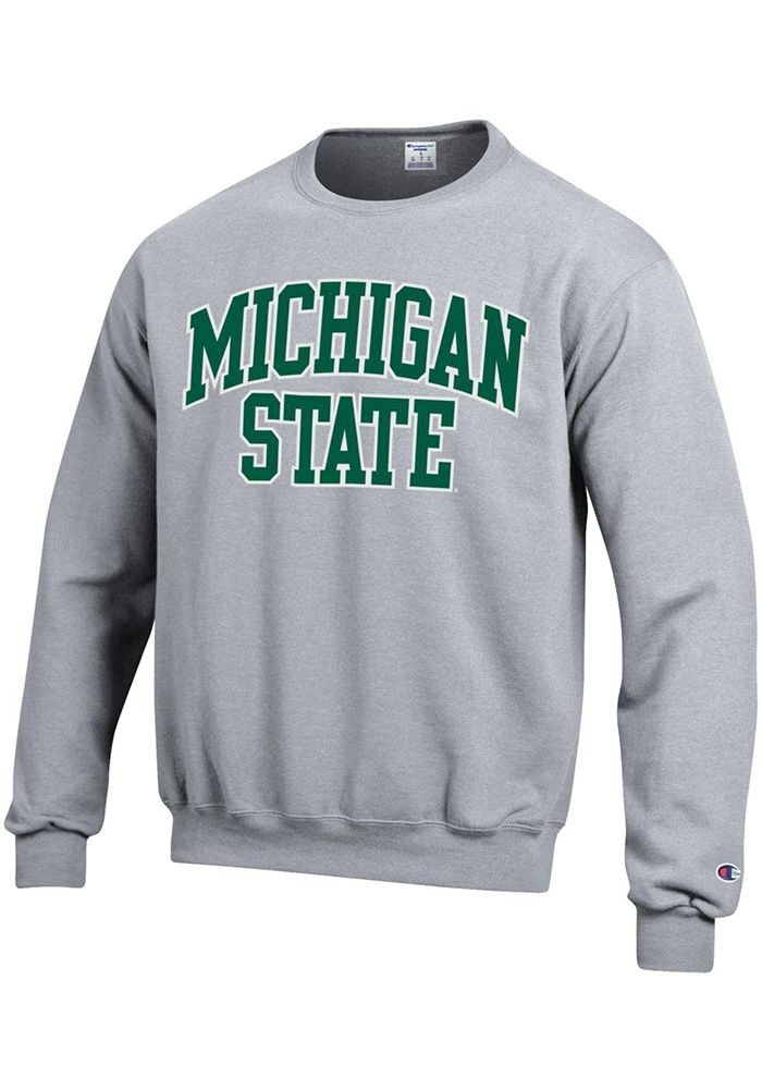 2e9a4772c Champion Michigan State Spartans Mens Grey Arch Long Sleeve Crew Sweatshirt,  Grey, 50% Cotton / 50% Polyester, Size XL