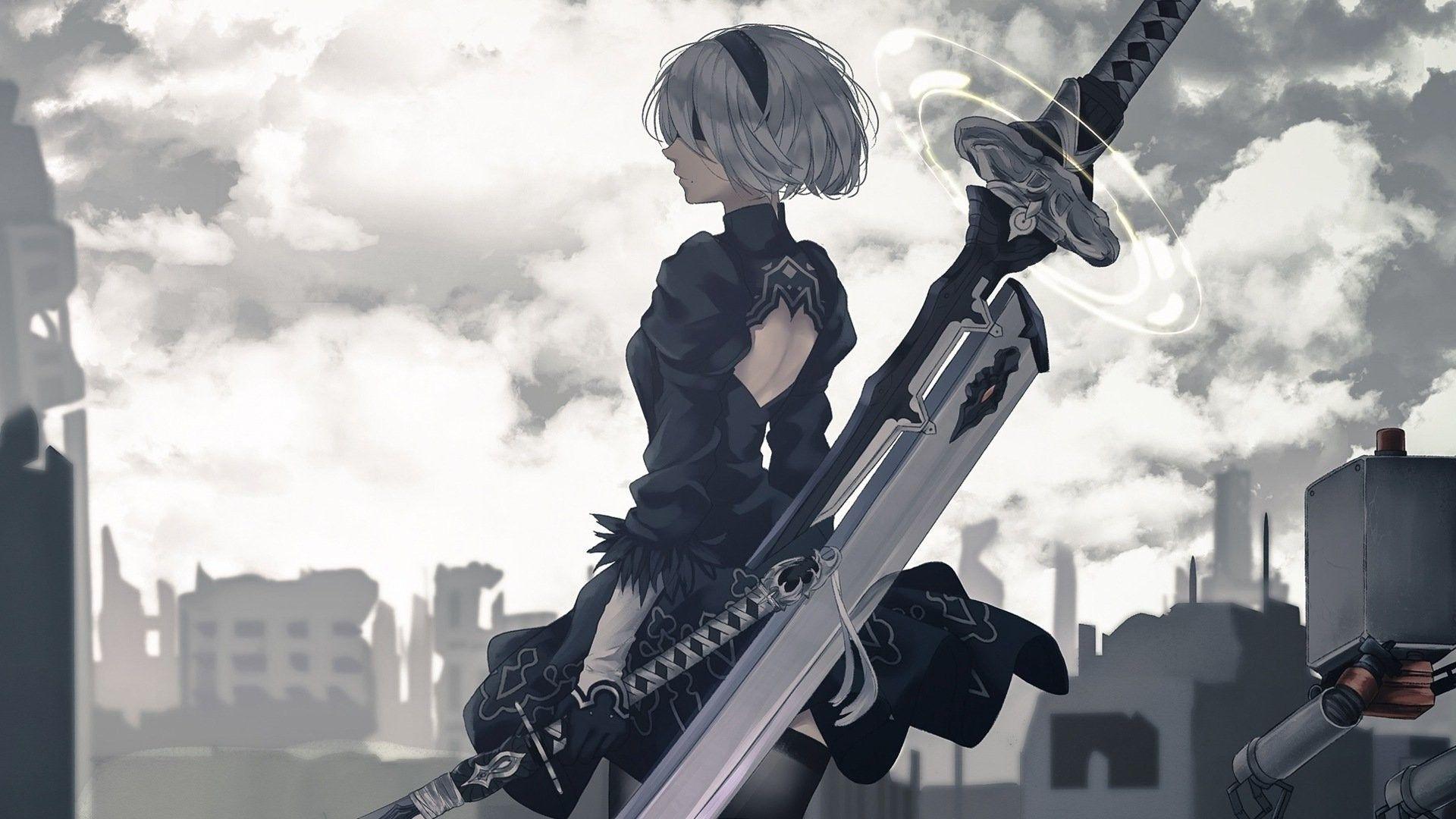 nier automata anime canvas wall poster