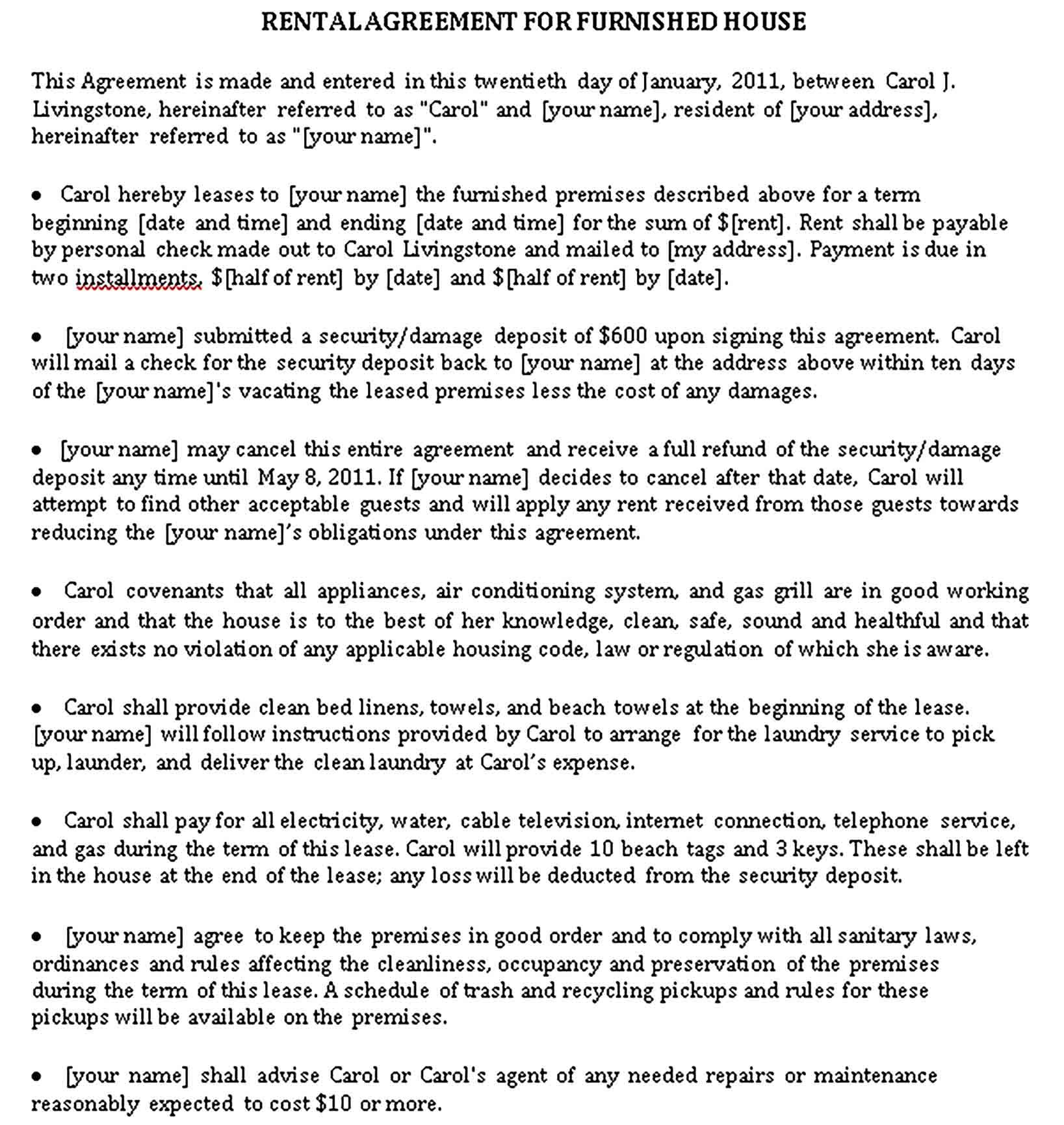 House Rental Agreements Template Sample