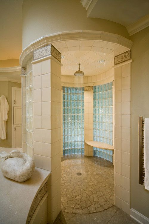 Cylindrical Shower With Glass Block Walls And Tile Columns