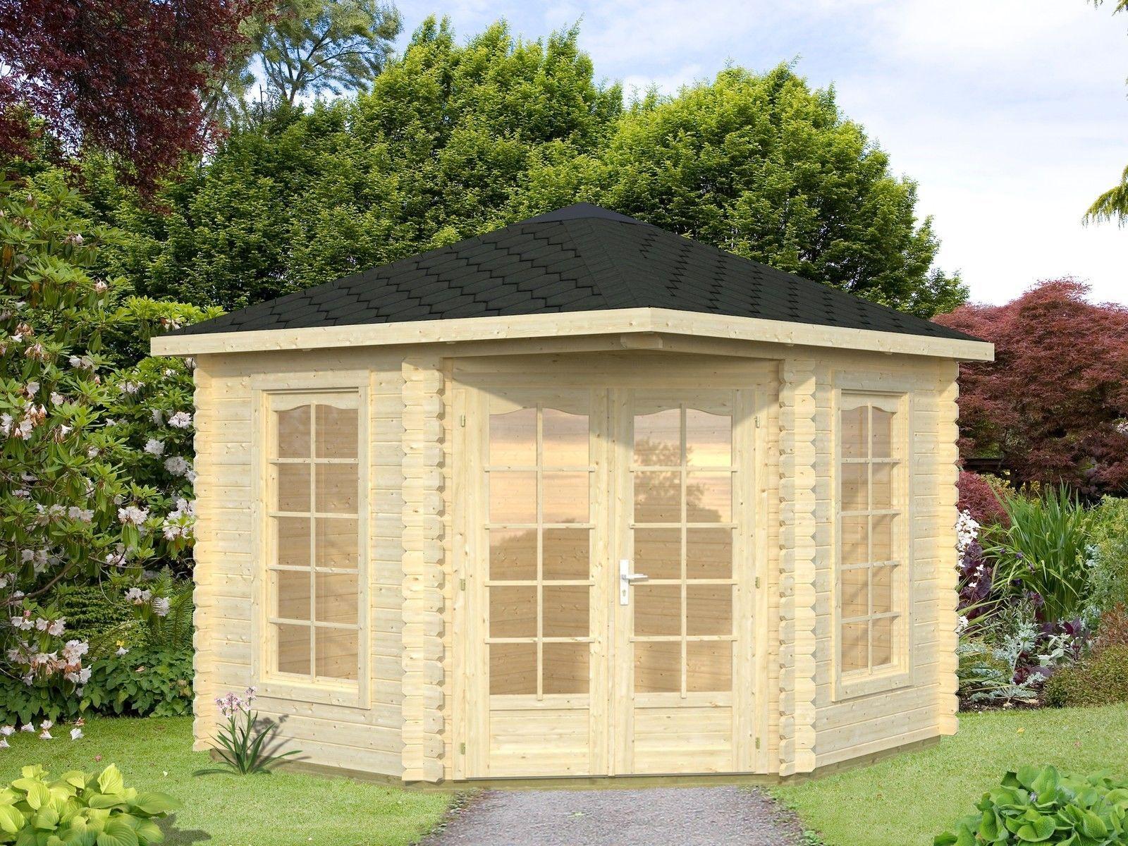 details zu holz blech pavillon 28mm freiburg 3x3m gartenhaus fünfeck