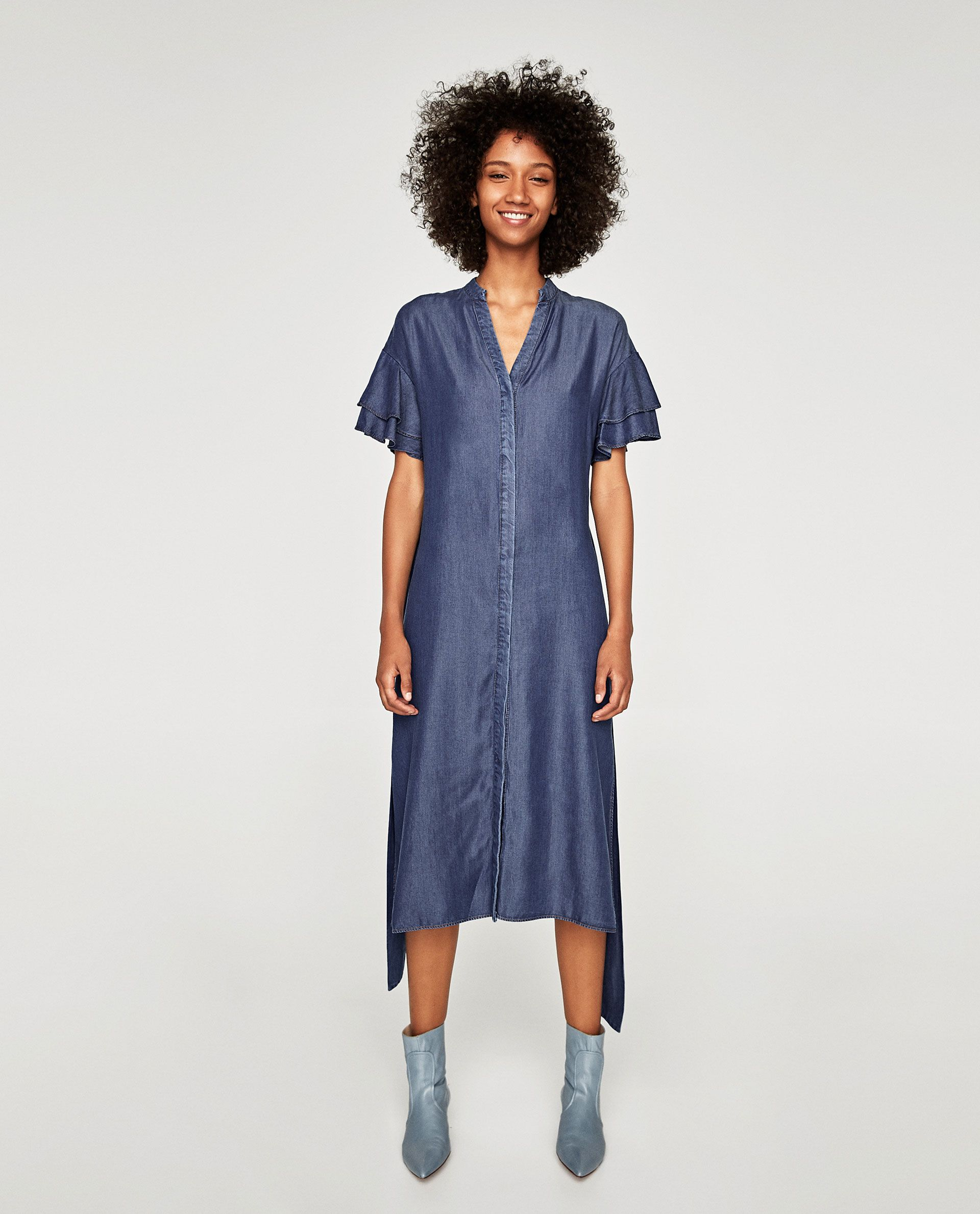 VESTIDO MANGA VOLANTE   Zara women and Woman bea4f503fc4