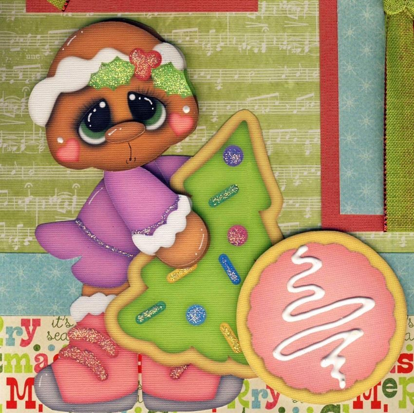 Christmas Cookies Girl 2 Premade Scrapbook Pages Paper Piecing