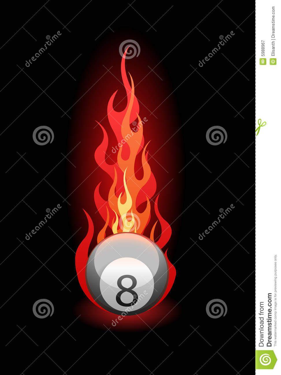 Una Bola De Fuego En La Vector Billar Ilustración Descarga QdCBthsorx