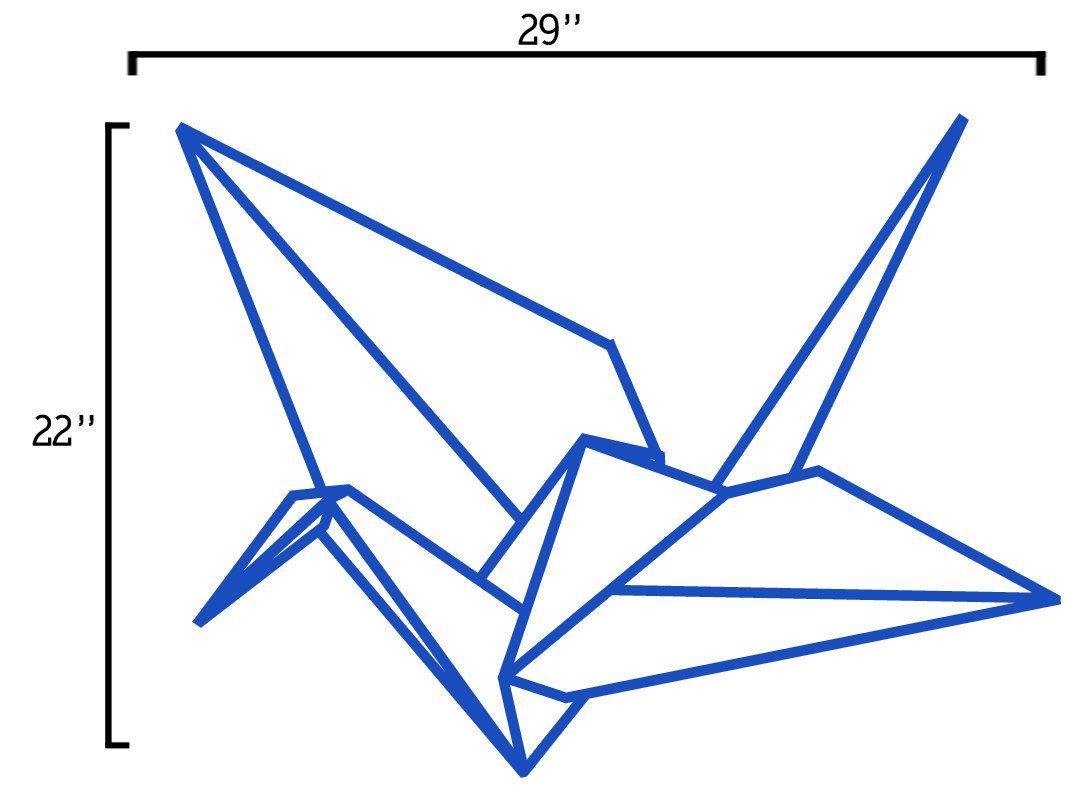 origami crane wall decal- large size origami crane bird ... - photo#39