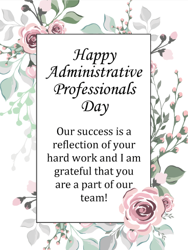Pink Rose Happy Administrative Professionals Day Card Birthday Greeting Cards By Davia Administrative Professionals Gifts Administrative Assistant Gifts Staff Appreciation Gifts