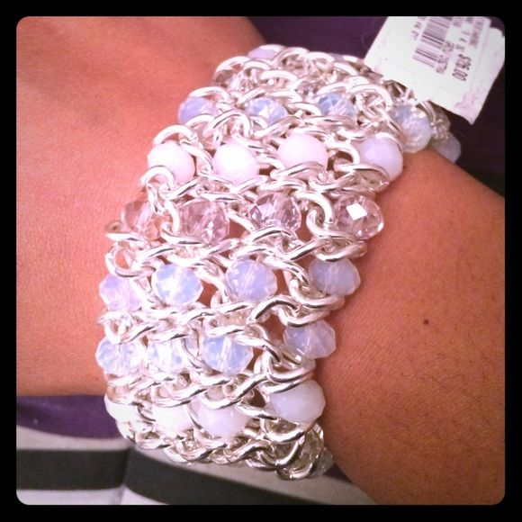 NWT Style & Co bracelet MACYS BRAND NEW w tag Style & Co silver tone blue bead stretch chain bracelet. Has 3 different color stones (baby blue,clear, white) GREAT FOR PROMretails for $26.00, will come in MACY's gift box. Jewelry Bracelets