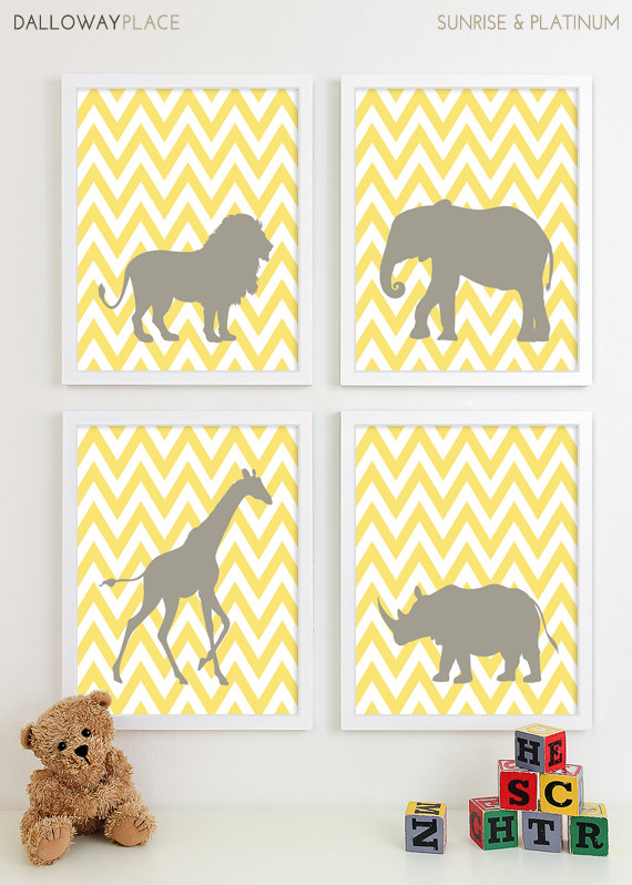 Safari Nursery Art Zoo Print Animal Wall Jungle Baby Decor Kids For Children Playroom Four 8x10