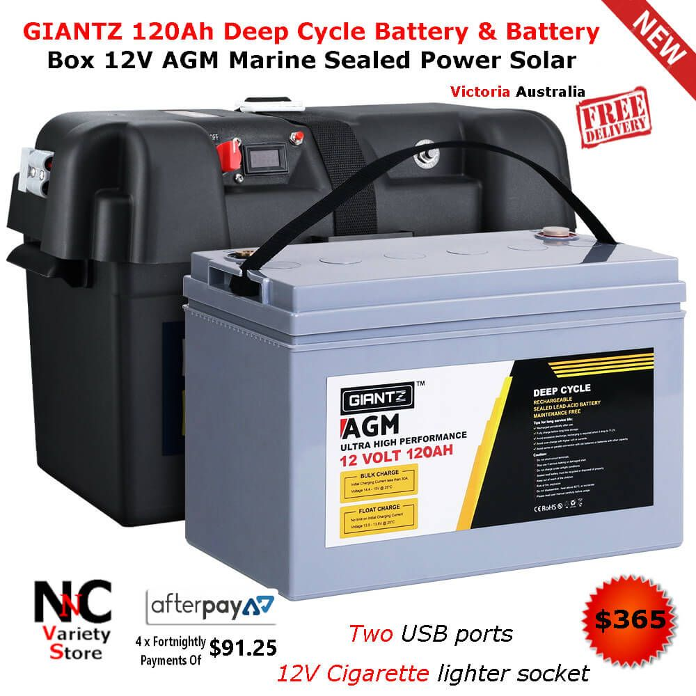 Giantz 120ah Deep Cycle Battery Battery Box 12v Agm Marine Sealed Power Solar Deep Cycle Battery Storage Life Battery