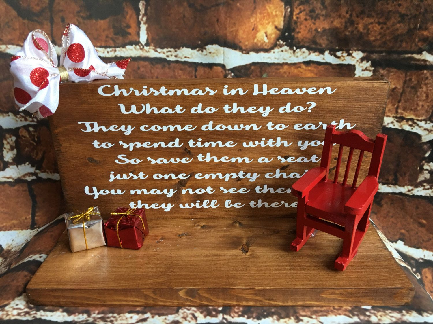 Christmas Wooden Christmas Memories Hanging Sign Sold Out - Christmas in heaven save a seat plaque by expressionallyforyou on etsy