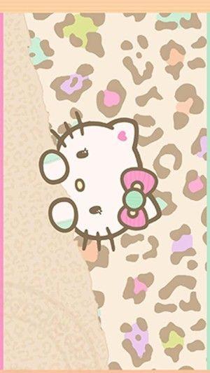 iPhone 平铺 壁纸 高清壁纸 plus壁纸 hello Kitty萌物 可爱卡通壁纸KT豹纹 - 堆糖 发现生活_收集美好_分享图片