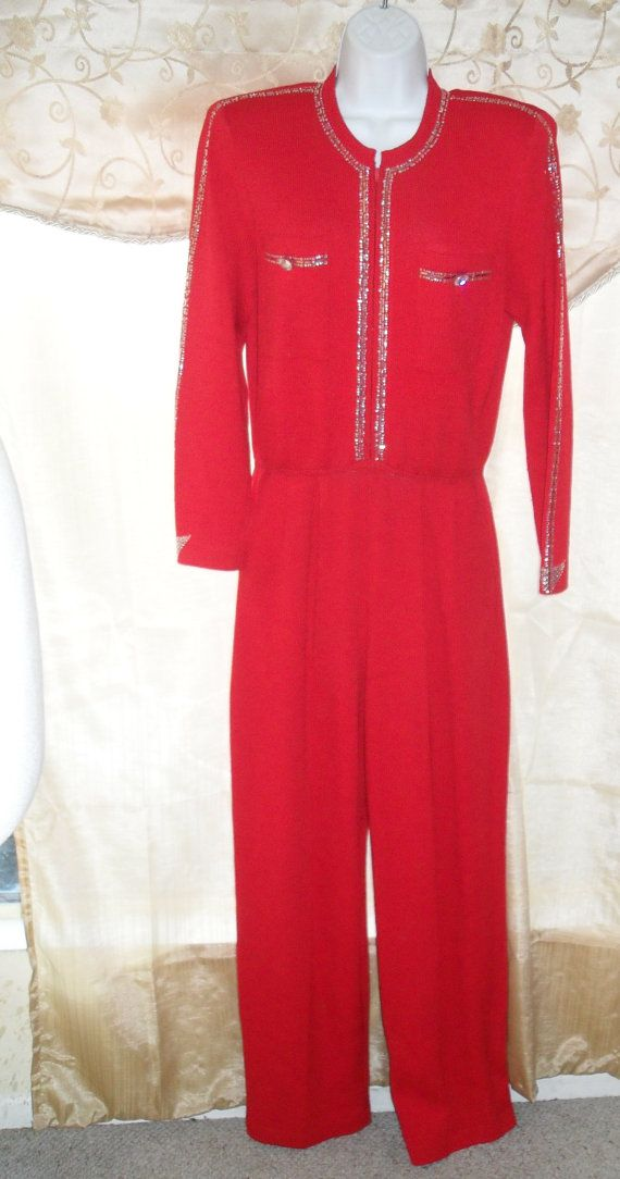 730fd4706e22 St John Santana Knit 80 s Vintage Jumpsuit With Rhinestone and ...