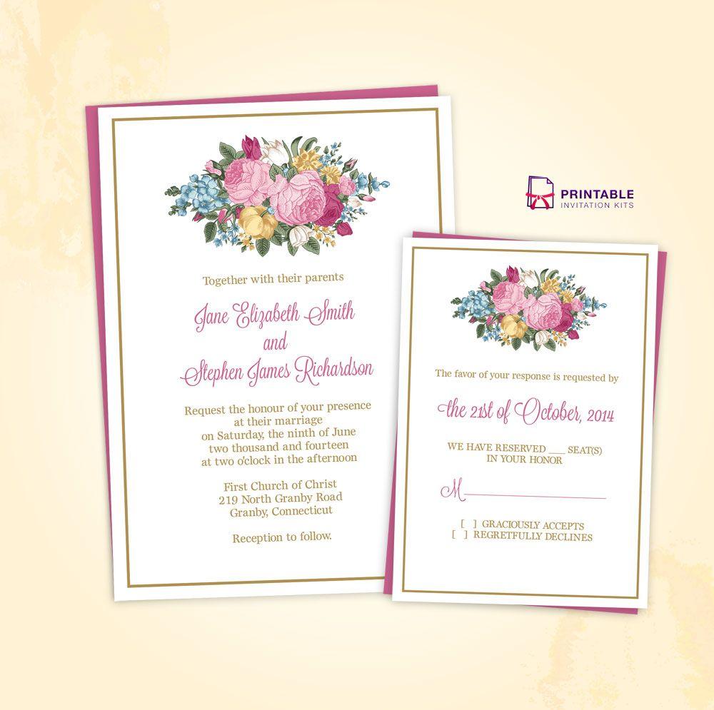 FREE PDF Download. Vintage Spring Floral Invitation And