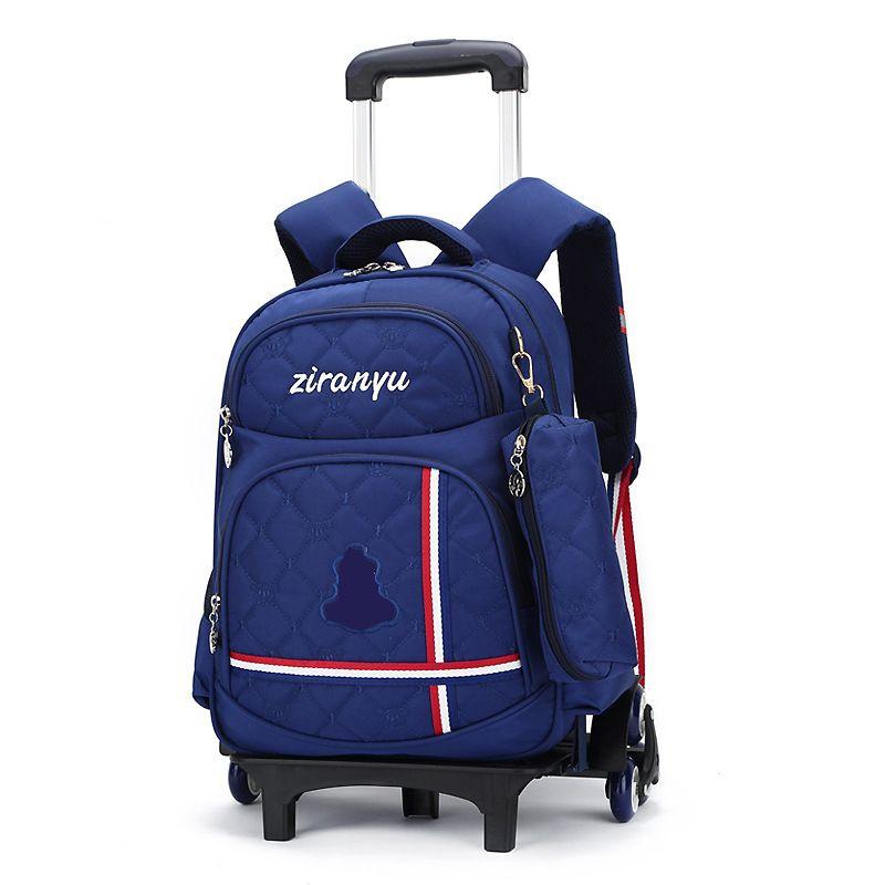 Kids Rolling Backpack Boys Wheeled Book Bag Children Trolley School Travel For Girls Satchel
