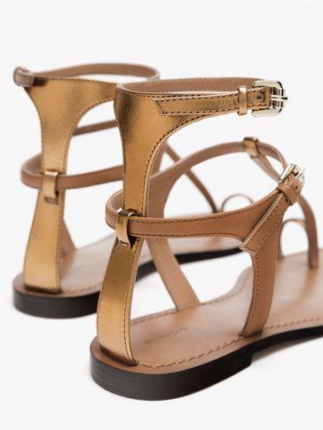 Cuero Planas De Pulsera Sandalia Piel Zapatos Sandalias Mujer rdxBtCQsh