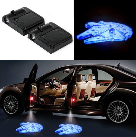 2 Star Wars Millennium Falcon Wireless Led Car Door Shadow Light Star Wars Death Star Lighting Logo Star Wars