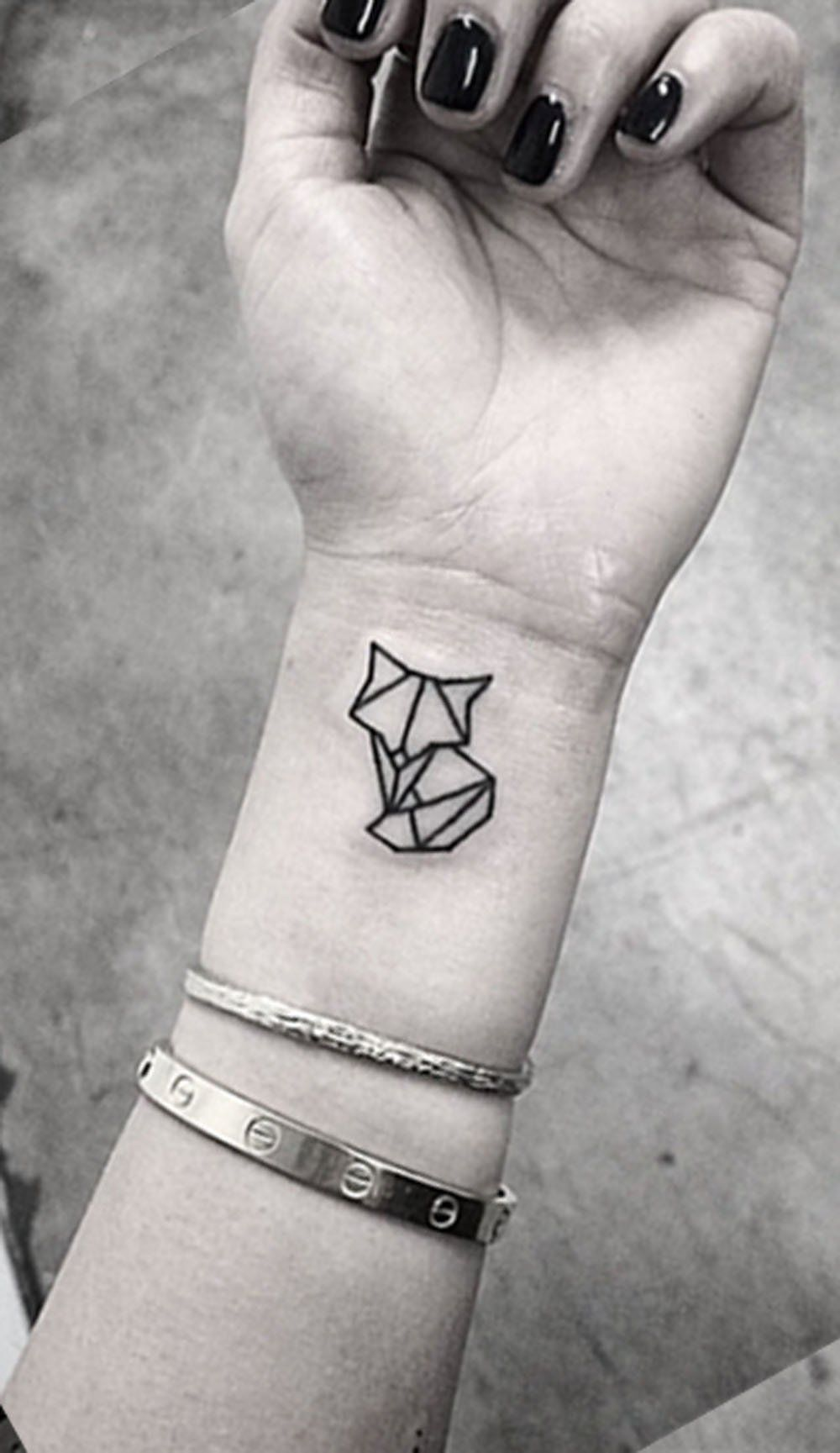 da6193f30 Small Minimal Geometric Wrist Arm Cat Fox Nature Tattoo Ideas for Women -  Ideas geométricas del