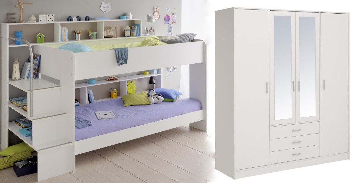 Schlafzimmer Set 2-tlg inkl 90x200 Etagenbett u Kleiderschrank 4