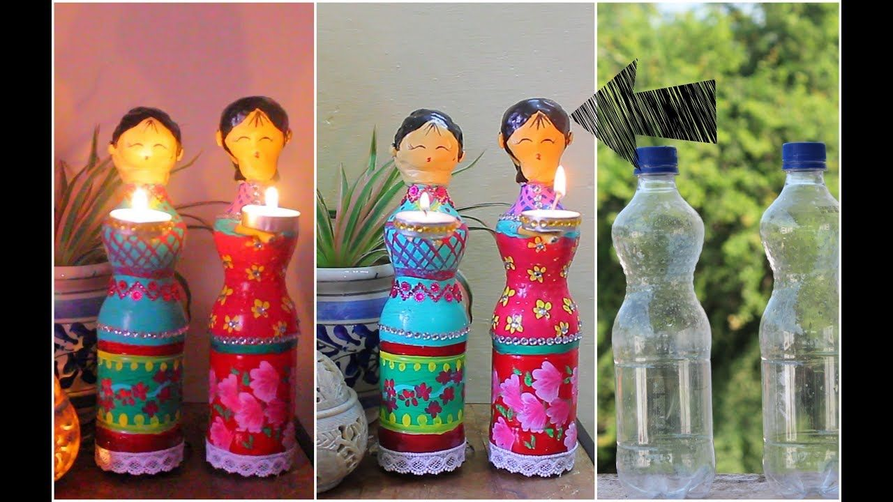 Dolls diya using Plastic Bottles for Diwali Decorations / DIY Home