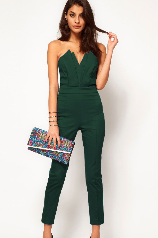 Free shipping   Green Sexy Jumpsuit with Pleated Bust Origami ...