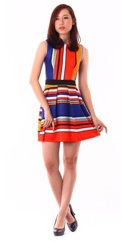 Summer Bold Striped Dress (Blue) A vibrant choice for dress-up in this summer, with this fit and flare dress features bold striped coloring. Looks perfect team with bright pumps and a petite chain-handle shoulder bag.