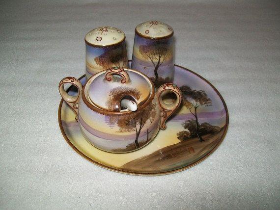 Hand Painted Noritake Condiment Set-- 4 piece set