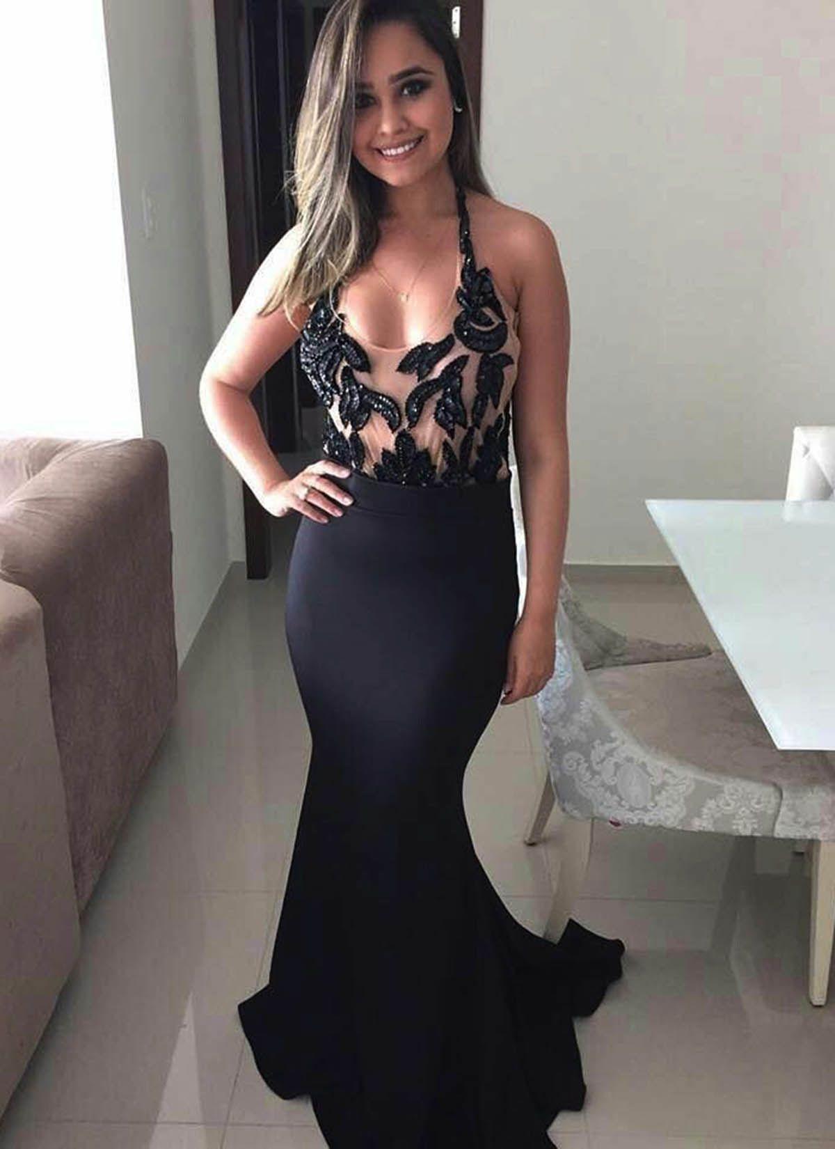 black slim line long halter evening dresses simple prom dress